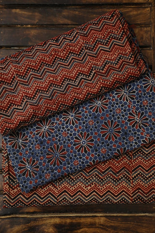 Blue with Maroon Finely Block Printed Ajrak Full Suit