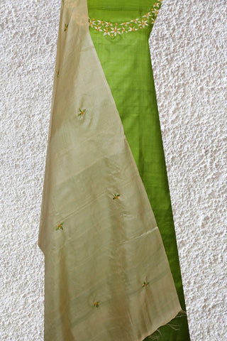 Light Green with Off White Tussar Silk Embroidered Top with Dupatta