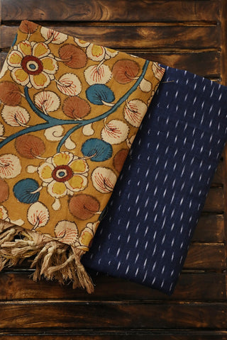Blue Ikat Cotton Top with Painted Kalamkari Dupatta