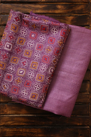 Purple Desi Tussar Silk Top with Kantha Dupatta