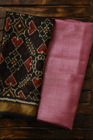Double shade purple pink Tussar Silk Top with Patola Silk Dupatta