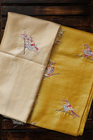 Light Yellow with Cream Tussar Silk Embroidered Top with Dupatta