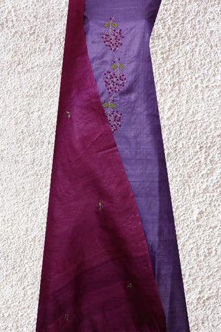 Purple Tussar Silk Embroidered Top with Dupatta