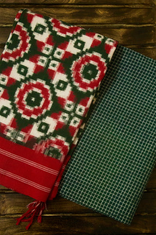 Green Checks Handwoven Cotton Fabric with Ikat Dupatta