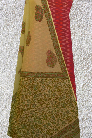 Shades of Pink Ikat Silk Cotton Top with Chanderi Dupatta