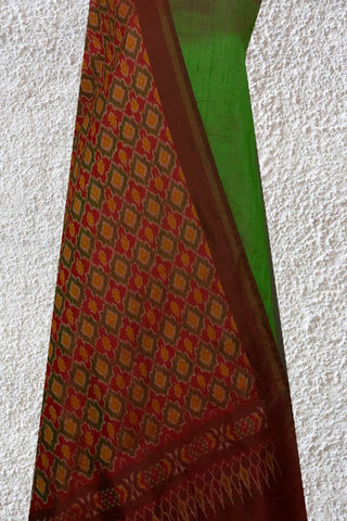 Double Shaded Green Raw Silk Top with Ikat Silk Dupatta
