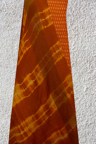 Brownish Orange Mercerized Ikat Cotton Top with Silk Dupatta