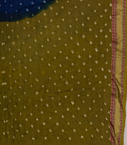 Olive Green with Indigo Tie and Dye Bandhani Saree