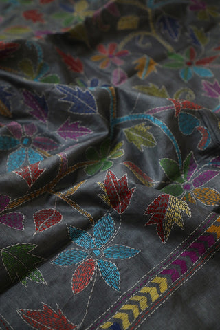 Multi colour Floral in Grey Full Work Kantha Tussar Silk Blouse