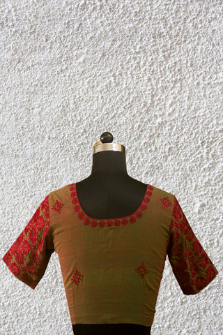 Double Shaded Green with Maroon Chikan Work Stitched Blouse - 38 Size