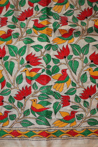 Red Lotus with Birds in Off White Kantha Tussar Silk Blouse