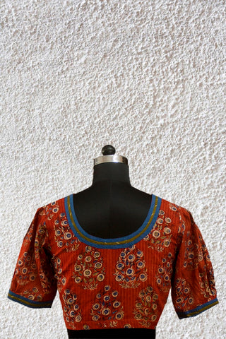 Rust Red with Indigo Puff Sleeves Blouse - 36 & 38 Size