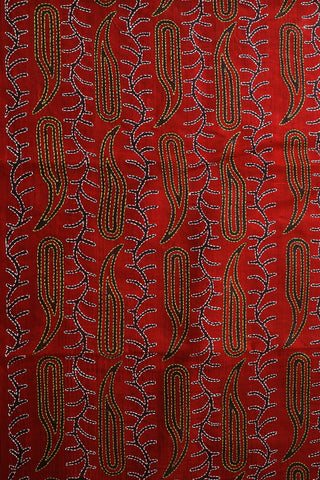 Yellow and White in Red Block Printed Full Work Kantha Silk Blouse