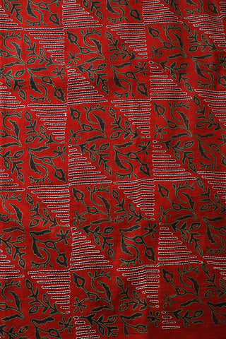 Red with Leaf Block Printed Full Work Kantha Tussar Silk Blouse