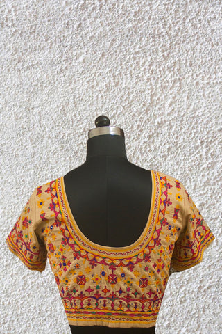Beige Kutch Embroidered Work Stitched Blouse - 38 Size