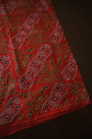 Block Printed Full Work Kantha Tussar Silk Blouse