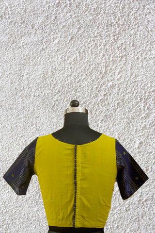 Yellowish Green with Ikat Sleeve Boondhi Button Stitched Blouse - 36, 38 & 40 Size