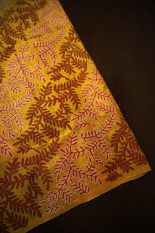 Golden Yellow Block Printed Full Work Kantha Silk Blouse