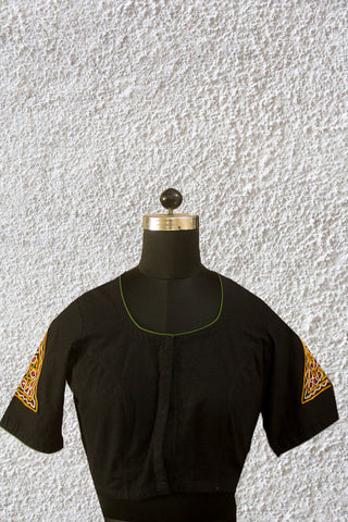 Kutch Triangles - Black Handwoven Cotton Blouse - 36 & 38 Size