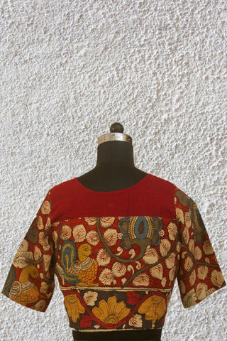 Maroon with Beige Floral Painted Kalamkari Sleeve Stitched Blouse - 38  Size