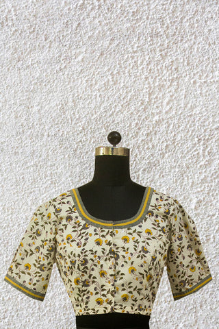 Yellow with Grey Floral Sanganeri Puff Sleeves Blouse with Lining- 36, 38 & 40