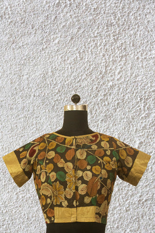Dark Grey Floral Hand Painted Kalamkari Silk Cotton Stitched Blouse - 36 & 38 Size