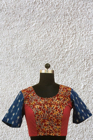 Maroon with Ikat Sleeve Stitched Blouse - 36, 38 & 40 Size