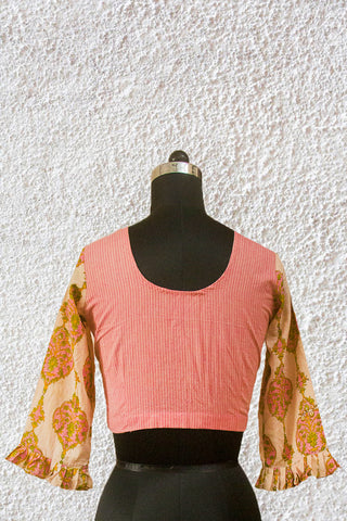 Pink Flared Floral Sleeve Stitched Blouse - 36, 38 & 40 Size