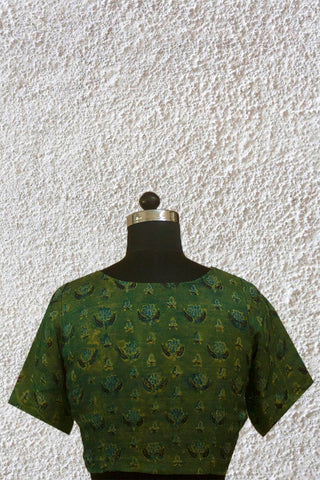 Subdued Green Modal Silk Stitched Blouse - 36, 38 & 40 Size