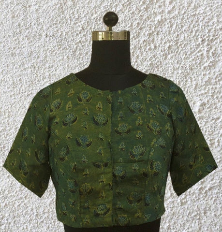 Subdued Green Modal Silk Stitched Blouse - 36 & 40 Size