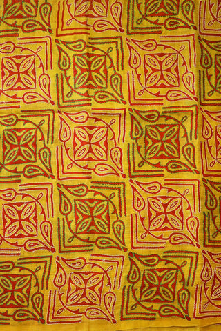 Brick Red in Yellow Block Printed Full Work Kantha Silk Blouse
