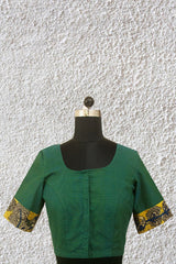 Bluish Green with Painted Kalamkari Back Patch Stitched Blouse - 36, 38 & 40 Size