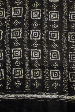 Black with White Boxes Kantha Full Work Tussar Silk Blouse Fabric