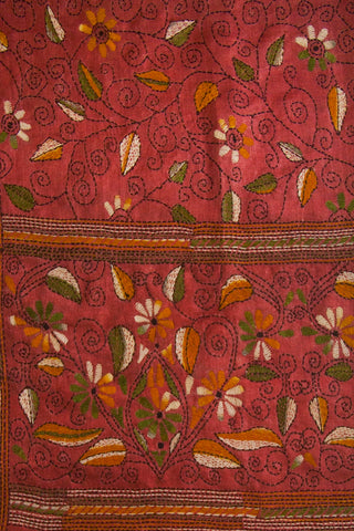 Floral Hand Embroidered Kantha Work Blouse Fabric