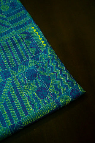Blue Green Kantha Full Work Tussar Silk Blouse Fabric