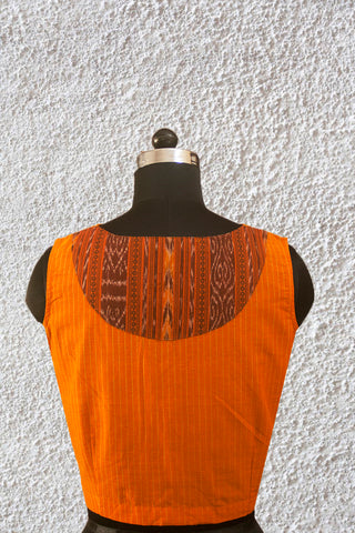 Yellow with Ikat Back Patch Stitched Blouse - 36, 38, & 40 Size