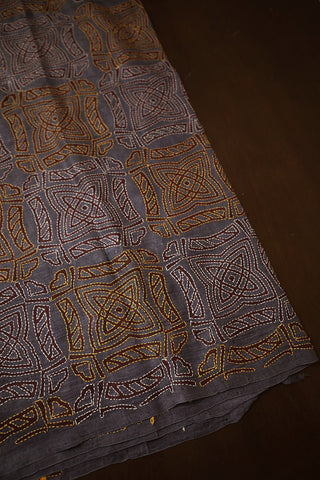 Grey with Brown Block Printed Full Work Kantha Silk Blouse