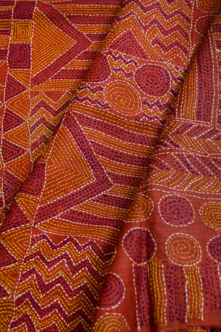 Rust Red Kantha Full Work Tussar Silk Blouse Fabric