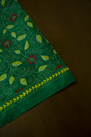 Green with Maroon Flower Kantha Full Work Tussar Silk Blouse Fabric