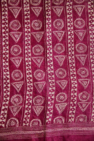 Dark Magenta Kantha Full Work Tussar Silk Blouse Fabric