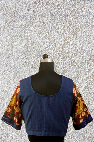 Blue with Painted Kalamkari Sleeve Stitched Blouse - 36, 38 & 40 Size
