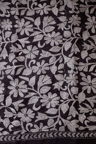 White Floral in Grey Full Work Kantha Tussar Silk Blouse