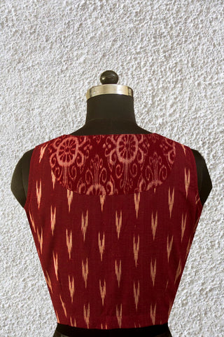 Maroon Ikat Back Patch Sleeveless Stitched Blouse - 36, 38 & 40 Size