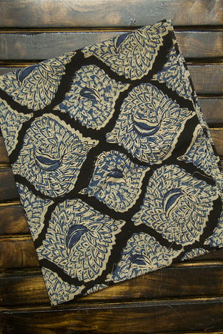 Natural Dyed Greyish Indigo Ikat Cotton  Fabric with Trim