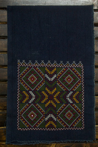Navy Blue Diamond Raw Silk Ikat Fabric with Trim