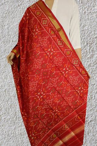 Floral in Red Patola Silk Ikat Dupatta