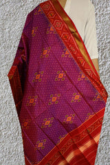 Double Shade Pinkish Purple Patola Silk Ikat Dupatta