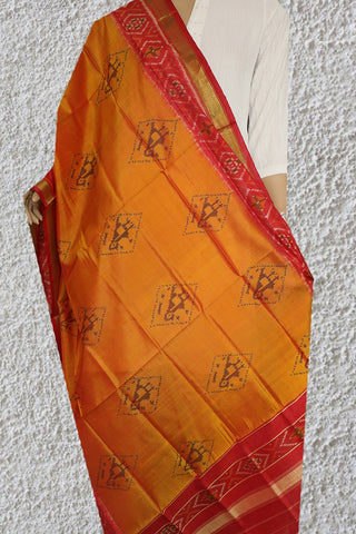 Golden Yellow with Red Patola Silk Ikat Dupatta