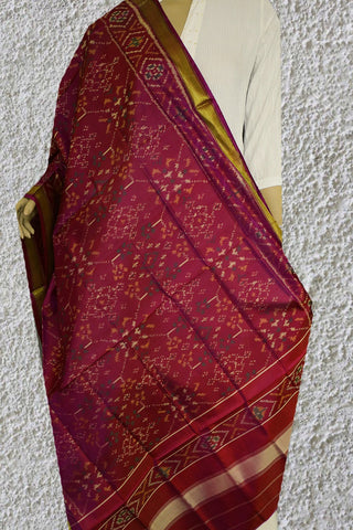 Double Shade Maroonish Purple Patola Silk Ikat Dupatta