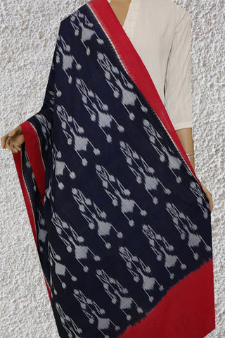 Blackish Blue Handwoven Ikat Cotton Dupatta